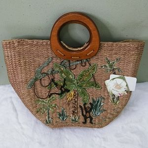 Capelli Hand Made Straw Purse with Monkeys